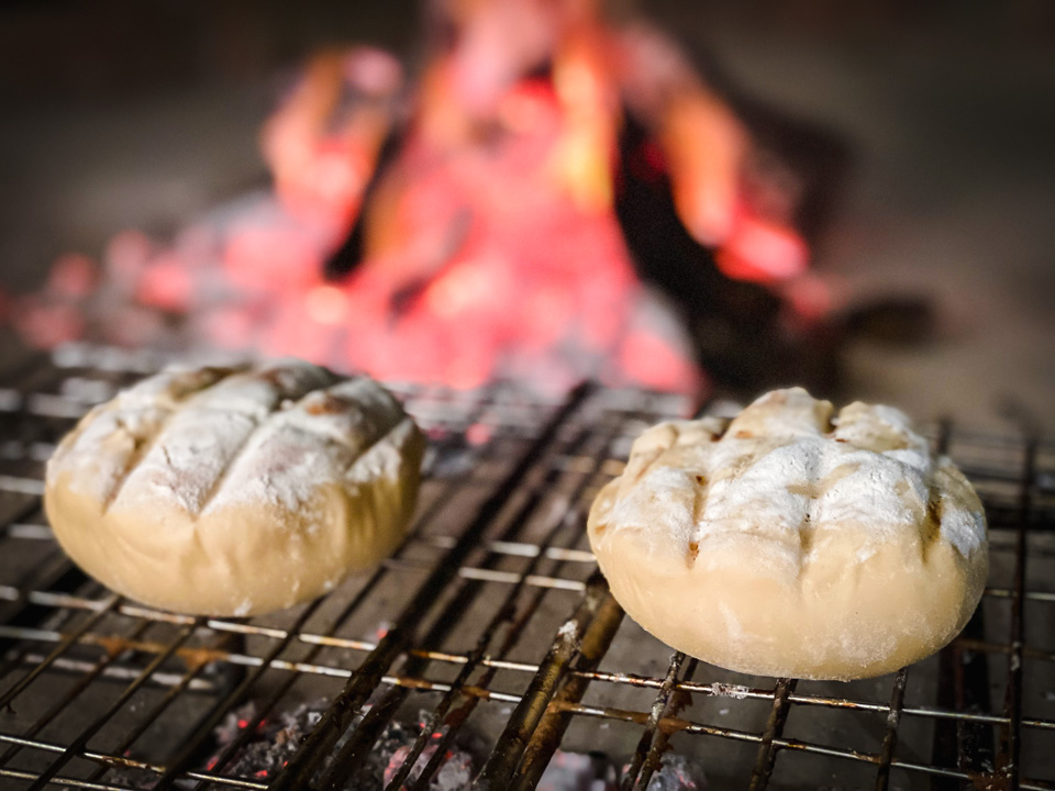 Hamburger Buns grilled on fire